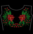 christmas embroidery patch wreath with mistletoe vector image