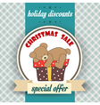 Christmas sale design with teddy bear vector image