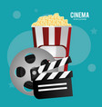 cinema reel film pop corn clapper movie vector image