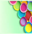 green background with 3d colorful easter egg vector image