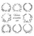 Hand drawn wreaths set vector image