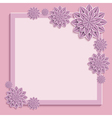 Pink square frame with 3d paper flowers vector image