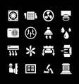 Set icons of ventilation and conditioning vector image