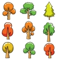 Cartoon tree set collection on doodles vector image