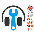 headphones tuning wrench icon with dating bonus vector image