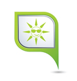 sun symbol on green map pointer vector image vector image