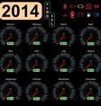 2014 year calendar speedometer car vector image