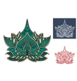 Green paisley flower with indian ornament vector image