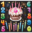 Happy Birthday cake numbers and firework vector image