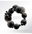 black molecules frame background in 3d vector image