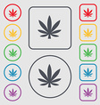 Cannabis leaf icon sign symbol on the Round and vector image