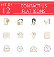 contact us solid icon set web communication signs vector image