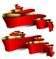 Red ribbons with gold stripes vector image
