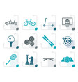 stylized sports equipment and objects icons vector image