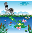 Cartoon zebra in forrest vector image