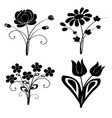 Silhouette flowers set 2 vector image