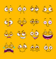 funny cartoon comic faces on yellow background vector image