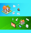 smart home isometric banners set vector image