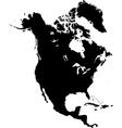 Black North America map vector image vector image