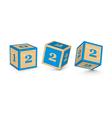 number 2 wooden alphabet blocks vector image