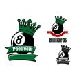 Crowned black billiards or pool ball vector image