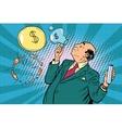 Businessman financier money inflates bubbles vector image