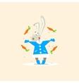 Christmas Rabbit and Falling Carrots vector image