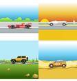Digital red orange and silver auto car vector image