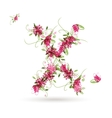 Floral letter X for your design vector image