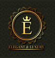 golden elegant and luxury monogram round frame vector image