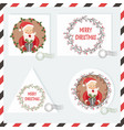 holiday stamps with funny santa claus and vector image