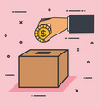 make a donation sign hand pushing coin in box vector image