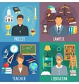 Teacher lawyer librarian and priest symbols vector image