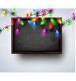 Background with blackboard and Christmas garland vector image