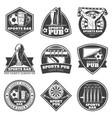 monochrome vintage sport bar labels set vector image
