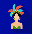 samba dancer icon in flate style isolated on white vector image