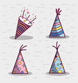 line set hat happy birthday celebration icon vector image