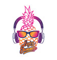 enjoy summer pineapple with sunglases and vector image