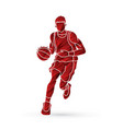 basketball player running front view vector image