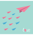 Big pink paper plane with small planes Love card vector image