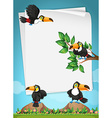 Paper design with toucans flying vector image