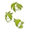Abstract portraits of women with green leaves vector image