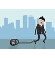 Businessman pulling a weight with vector image