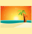 grunge tropical beach poster vector image
