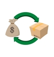 Money bag and box icon cartoon style vector image