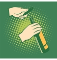 Opener bottles hand holds corkscrew vector image