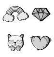 set fashion cute patch decoration design vector image