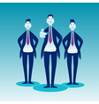 three businessmen stand on a blue background front vector image