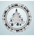 Christmas floral wreath with holly berry and tree vector image