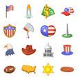 usa travel items icons set cartoon style vector image